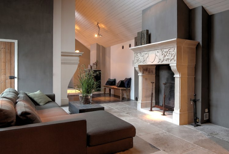 showroom french limestone fireplaces
