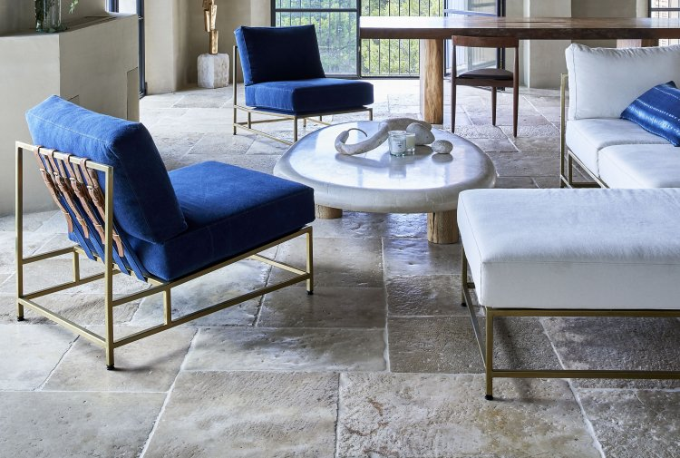 reclaimed slabs of french limestone