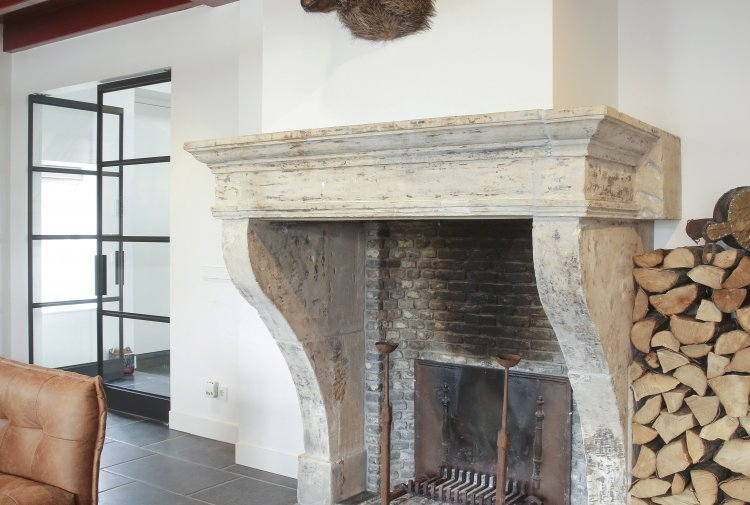 antique mantelpiece of french limestone
