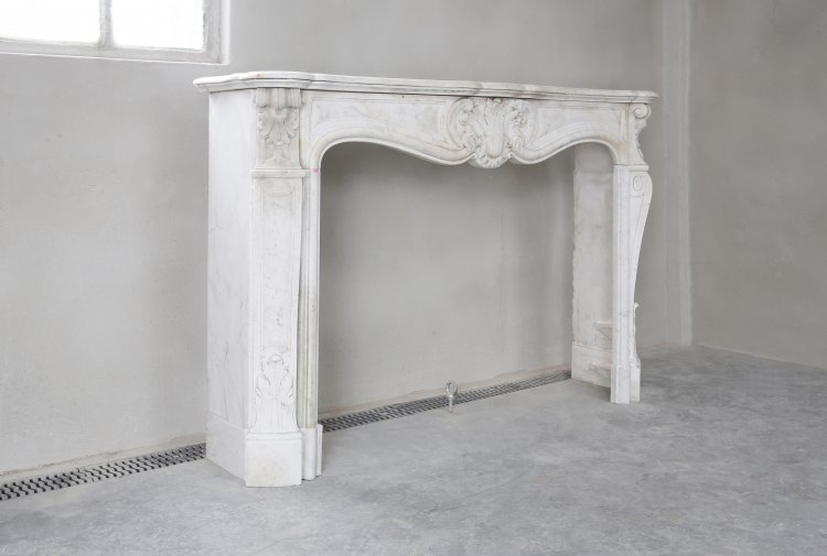 Carrara marble antique fireplace