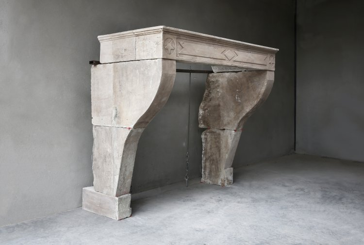 old french mantelpiece of limestone