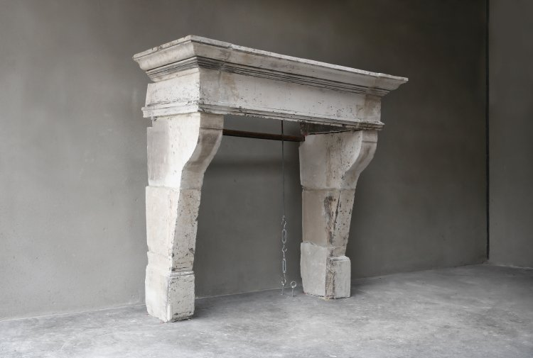 old fireplace of french limestone