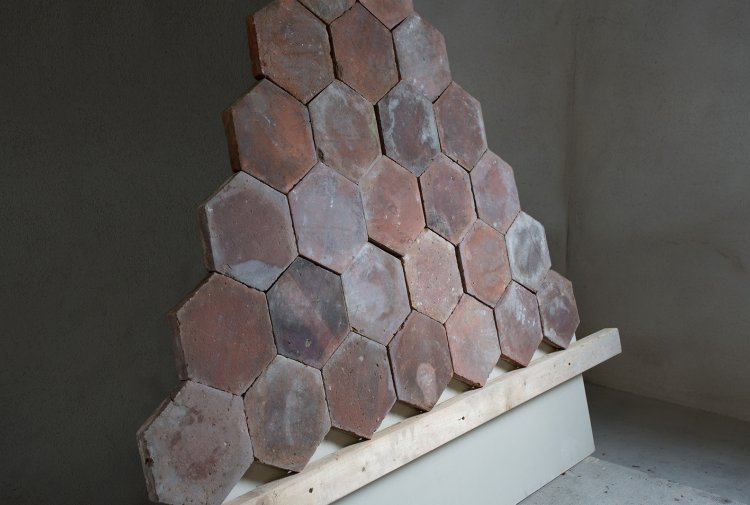 salmon/orange hexagonal tiles
