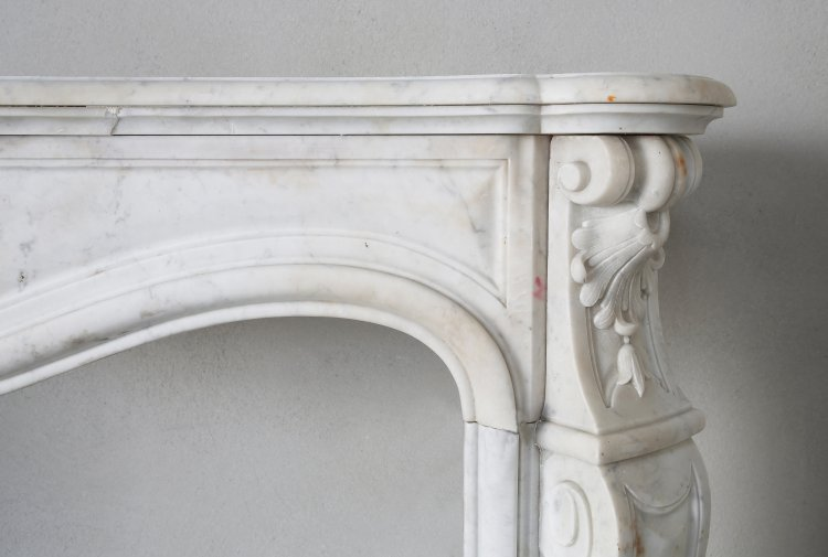 antique marble fireplace of Carrara marble