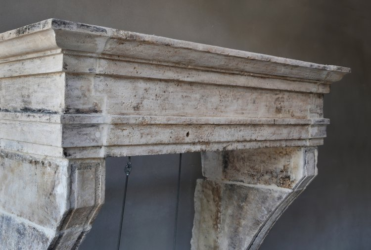 Campagnarde style fireplace of limestone