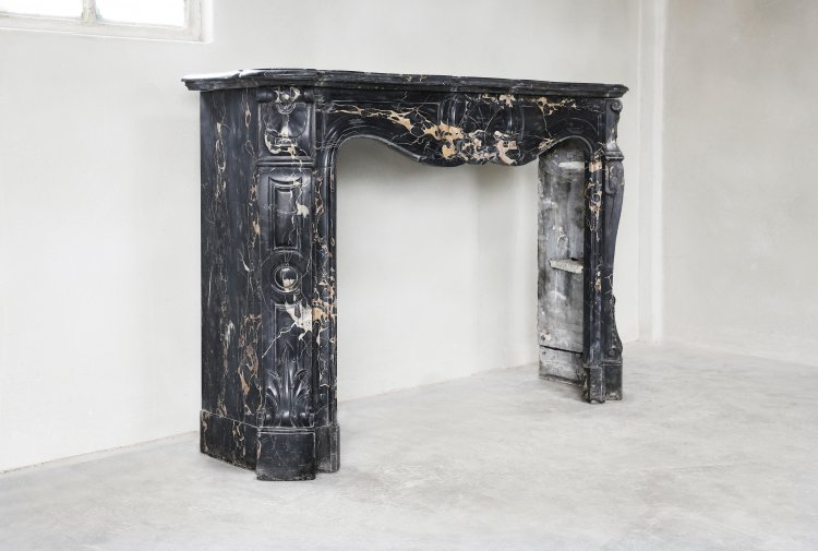 old Portoro marble mantel fireplace