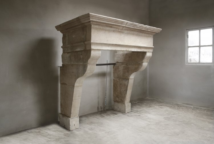 French fireplace of limestone