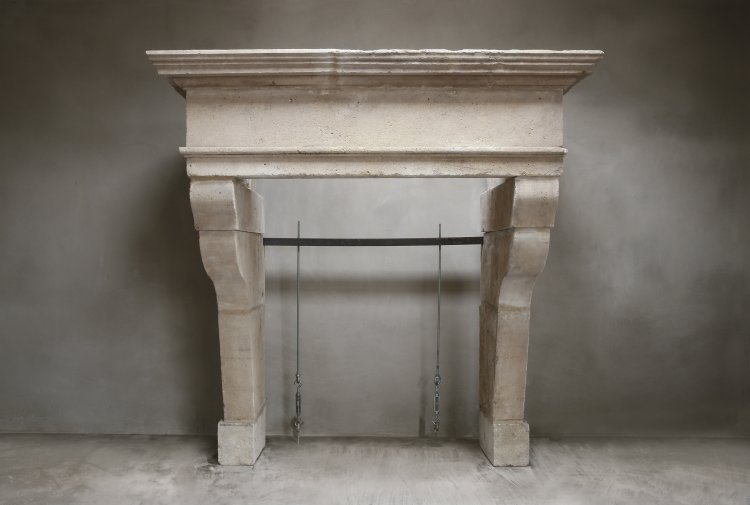 antique castle fireplace of limestone