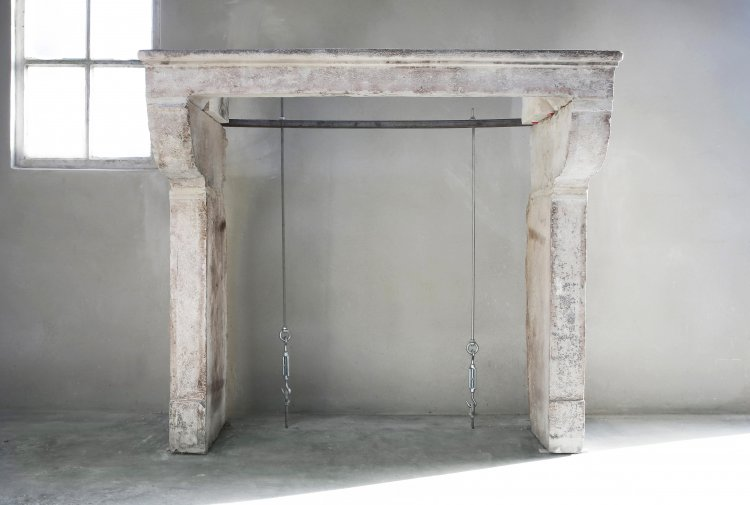 antique mantelpiece from french limestone